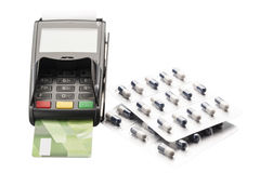 Free POS Terminal, Credit Card And Pill Blister Packs Stock Image - 65727031