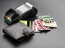 Free POS Terminal, Credit Card And Pill Blister Packs Stock Images - 65892084