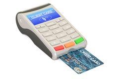 POS-terminal with credit card closeup, 3D rendering Royalty Free Stock Photo