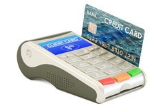 POS-terminal with credit card, 3D rendering Royalty Free Stock Photo