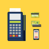 POS Terminal with Credit Card Icon. Vector Stock Photos
