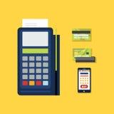 POS Terminal with Credit Card Icon. Vector Stock Photos