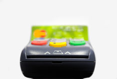 POS terminal and credit card processing Royalty Free Stock Images