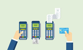 POS terminal and Credit card processing - illustration in flat style. Royalty Free Stock Photo