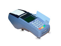 POS terminal and credit card processing isolated. Over white background Royalty Free Stock Photo