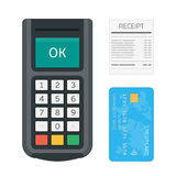Pos terminal credit card receipt. Stock Images