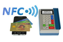 POS-terminal with credit card and smartphone, NFC Royalty Free Stock Photos