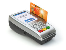 POS terminal with credit card on white. Paying. 3d royalty free illustration