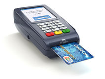 POS terminal with credit card  on white. Paying. Stock Photo