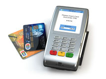 POS terminal with credit cards isolated on white background. 3d Stock Photo
