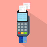 Pos terminal in flat style.Concept of cashless payment and credit card payment vector illustration. Pos terminal in flat style.Concept of cashless payment and Stock Photography