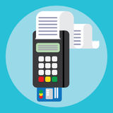Pos terminal in flat style. payment. Stock Image