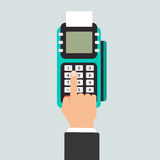 Pos terminal in flat style. Royalty Free Stock Images
