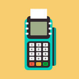 Pos terminal in flat style. Royalty Free Stock Image