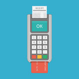 Pos terminal in flat style. Stock Photo