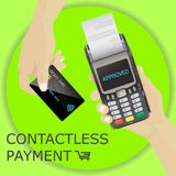 POS Terminal with hand and credit card. Contactless payment, app Royalty Free Stock Images