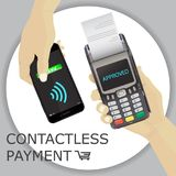 POS terminal with hand and smartphone. Payment approved by smart Stock Images