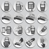 Pos terminal icons set on background for graphic and web design. Simple illustration. Internet concept symbol for stock illustration