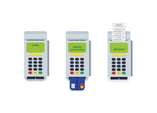 POS terminal with inserted credit card and printed reciept. Modern flat design element. EPS10 vector. Stock Photos