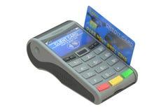 Pos.-terminal med kreditkorten Arkivfoto