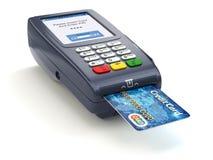 POS terminal met creditcard op wit paying vector illustratie
