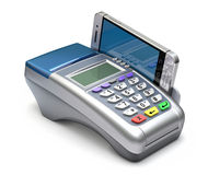 POS terminal with mobile. POS terminal with inserted mobile phone - 3D illustration Stock Image