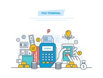 Pos terminal, payments systems. Financial transactions, cashless operation on payment. Pos terminal, payments systems. Financial transactions, cashless Stock Photography