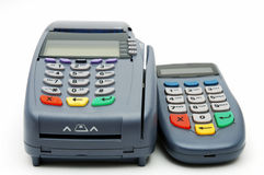 POS-terminal with PIN-pad. Modern POS terminal with magnetic stripe and chip reader Royalty Free Stock Image