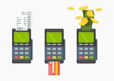 Pos terminal. Pos cashless payment concept. Pos machine with cre. Pos machine with credit card. Vector. Pos terminal. Pos cashless payment concept Royalty Free Stock Photos