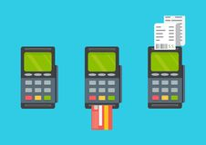 Pos terminal. Pos cashless payment concept. Pos machine. Pos machine with credit card. Vector. Pos terminal. Pos cashless payment concept Royalty Free Stock Images