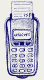 POS terminal with printed reciept. Doodle style Royalty Free Stock Photos