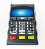 POS terminal with remote wireless symbol on the screen. 3D illustration.  Stock Photography