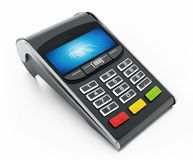POS terminal with remote wireless symbol on the screen. 3D illustration.  Royalty Free Stock Image