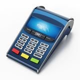 POS terminal with remote wireless symbol on the screen. 3D illustration.  Royalty Free Stock Images