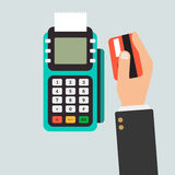 Pos terminal usage  concept in flat style Royalty Free Stock Photography