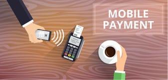 Pos.-terminalen bekräftar betalning från smartphonen Mobil betalning och NFC-teknologibegrepp Plan stilillustration royaltyfri illustrationer