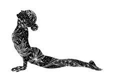 Posa ascendente di yoga del cane del rivestimento, Urdhva Mukha Svanasana, posa di yoga Immagine Stock