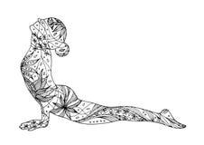 Posa ascendente di yoga del cane del rivestimento, Urdhva Mukha Svanasana, posa di yoga Fotografia Stock