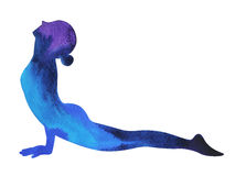 Posa ascendente di yoga del cane del rivestimento, Urdhva Mukha Svanasana, posizione di yoga Fotografia Stock