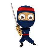 Posa blu di ninja Fotografia Stock Libera da Diritti