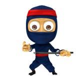 Posa blu di ninja Fotografie Stock Libere da Diritti