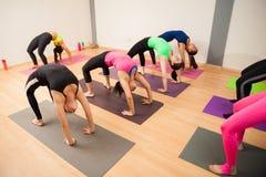 Posa del Backbend in una classe di yoga Fotografie Stock Libere da Diritti