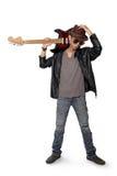 Posa del chitarrista dei blu fotografia stock libera da diritti