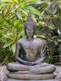 Posa del loto della statua di Buddha del metallo Fotografia Stock Libera da Diritti