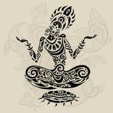 Posa del loto di meditazione Stile del tatuaggio illustrazione vettoriale