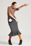 Posa del modello di moda su fondo leggero Fotografie Stock