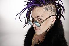 Posa del musicista di punk rock Fotografia Stock Libera da Diritti