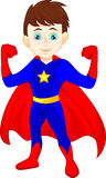 Posa del ragazzo dell'eroe eccellente Immagine Stock Libera da Diritti