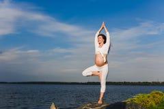 Posa dell'albero di yoga dalla donna del pregnat Fotografia Stock