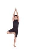Posa dell'albero di yoga su bianco Fotografia Stock Libera da Diritti